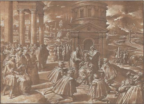 the funeral of mausolus king of halicarnassus by nicolo dell abbate