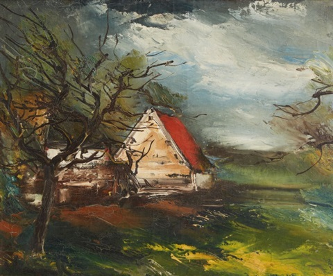 La maison au toit rouge by maurice de vlaminck on artnet for Atelier de la maison rouge