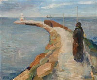 scene from a harbour with a back turned woman standing on a pier by carl fischer