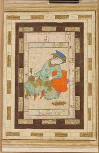 miniature représentant un jeune courtisan assis se prélassant sur des coussins by anonymous-iranian (17)