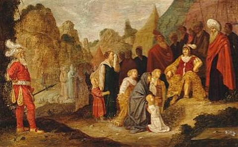 two religious scenes one with women and children interceding with a commander the other with a procession of people with bulls and garlands that one from the acts of the apostles 14 11 18 2 works by rombout van troyen
