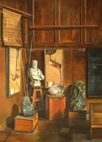 eine ecke im hörsaal für mineralogie mit büste von professor lévy by jurg kreienbuhl