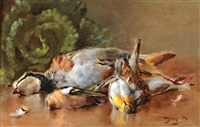 bécasse et moineaux by maurice dupuis