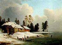 winterliches treiben am see by wilhelm reinhardt