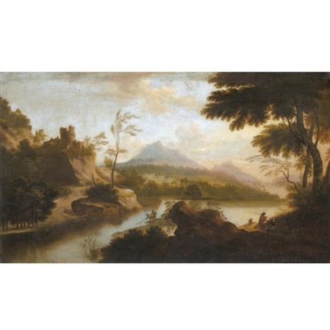 a river landscape with fishermen in the foreground a castle beyond by anglo flemish school 18