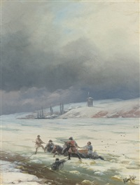 hauling a horse and cart out of ice by ivan konstantinovich aivazovsky