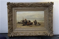 vissersvrouwen op het scheveningse strand by philip lodewijk jacob frederik sadée