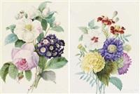 un bouquet de roses et pivoines (+ un bouquet d'oillets et dahlias, 1835; pair) by comtesse d' aubigny d'afoy