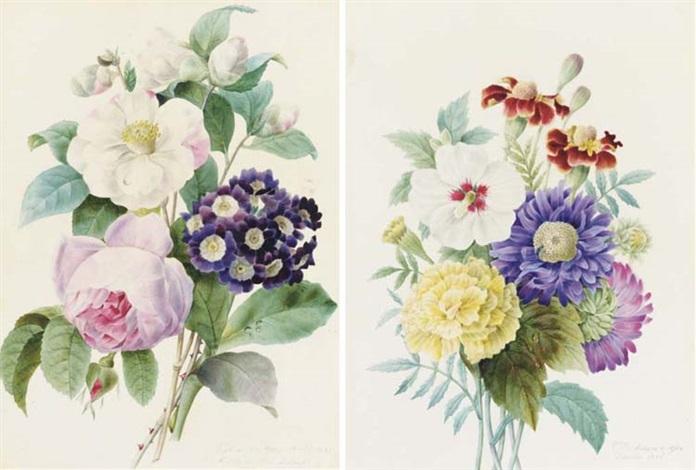 un bouquet de roses et pivoines un bouquet doillets et dahlias 1835 pair by comtesse d aubigny dafoy