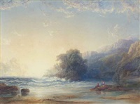 two women on a beach looking out to sea by copley fielding