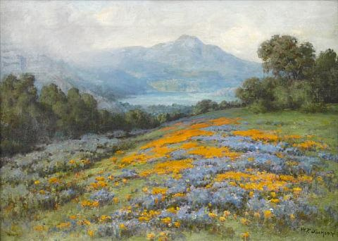 poppies and lupine with mt tamalpais in the distance by william franklin jackson