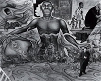 diego rivera devant la fresque l'histoire du monde, mexico city by gisèle freund
