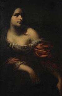 portrait d'une jeune femme, regardant de côté by thomas couture