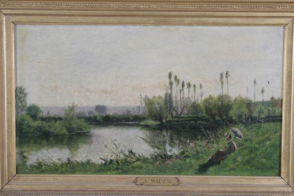 jeune femme à lombrelle près de la rivière by adrien jacques sauzay