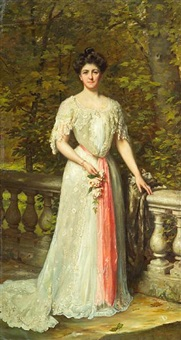 a portrait of a lady in a white dress with a pink sash by a balustrade by thomas benjamin kennington