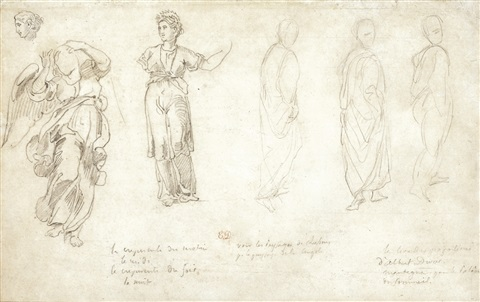 a sheet of figure studies by eugène delacroix