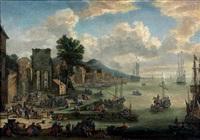 port méditerranéen avec personnages et porte antique à gauche by pieter casteels iii