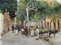 a market in italy by paul gustave fischer
