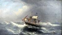 ship in a storm by james hamilton