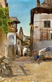 bauerngehöft in weißenkirchen an der donau by anton joseph pepino