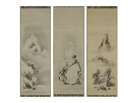sesshu-style to-ho-saku/landscape (set of 3) by isen'in