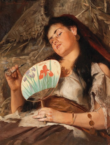 girl smoking pipe with japanese fan by edmund blume on artnet