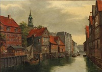 the old orphanage. canal by admiral strasse in hamburg by august fischer