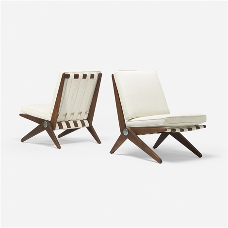 scissor chairs pair by pierre jeanneret