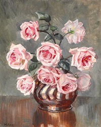 pink roses in a vase by helga ancher