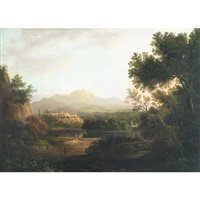 travelers and idlers in an extensive italianate river landscape with medieval town on the distant cliff by nasmyth