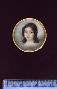 a girl, head and shoulders, her dark hair in ringlets, amongst clouds by jean-baptiste couvelet