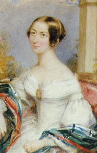 princess victoria, seated in a red upholstered chair, wearing décolletté white dress and tartan shawl over her arms by henry collen