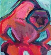 der rote zorn - gebückte figur by maria lassnig