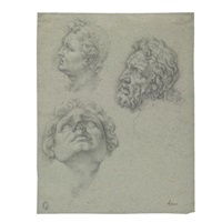 heads after the laocoön (study) by ambrogio giovanni figino