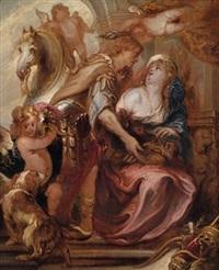meleager übergibt atalante das haupt des kaledonischen ebers by pieter crynse volmaryn