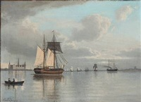 sailing ships off the shore of kronborg castle by carl emil baagöe