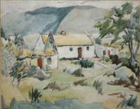 cottages near louisberg, co mayo by kitty wilmer o'brien