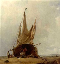 figures by a beached sailing vessel by jacob jacobs