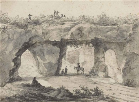 a rocky outcrop covered in vines with figures over and below the tunnels recto sketch of a wooded landscape verso by jan asselijn