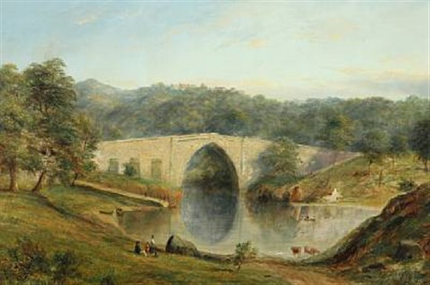 view of brige of don or brig o'balgownie, aberdeenshire by henry c. gritten