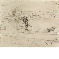 untitled (man with rake, wheelbarrow, in field) by arshile gorky