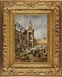 place de la halle aux toiles à rouen by edme-emile laborne