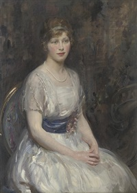 portrait of a young lady in a white dress with blue sash by walter ernest webster
