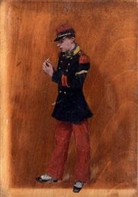 jeune militaire roulant une cigarette by norbert goeneutte