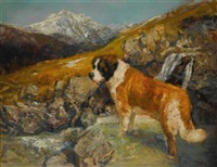 st. bernard in a mountainous landscape by neil forster