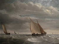 fishing smacks in a breeze by raymond eugène goethals
