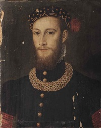 portrait of a bearded gentleman, bust-length, in a black coat with gold buttons and chain, wearing a black feathered cap with gold embroidery by françois clouet