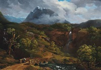 norwegian landscape with mountains with snow by gustaf wilhelm palm