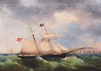 the schooner electric flash flying the flag of hamburg by peter christian holm and lorenz petersen