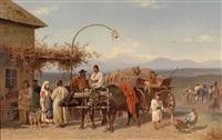 rumänisches landvolk mit büffelwagen by emil volkers